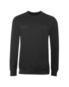 True Religion Mens Black Embroided Large Logo SweatShirt
