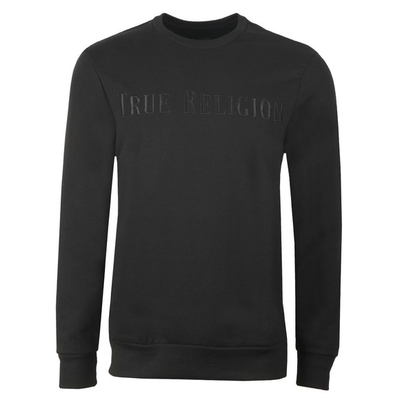 True Religion Mens Black Embroided Large Logo SweatShirt