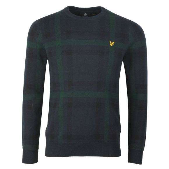 Lyle and Scott Mens Blue Tartan Jumper main image