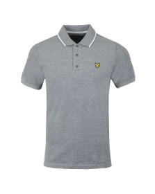 Lyle and Scott Mens Grey Oxford Tipped Polo