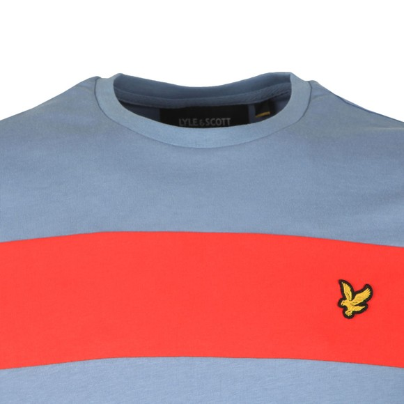 Lyle and Scott Mens Blue Panel Tee main image