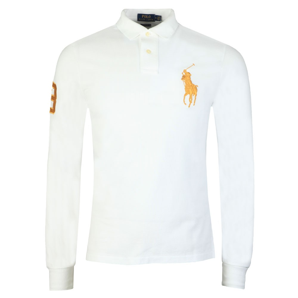 Contrast Collar Long Sleeve Big Polo Player Polo Shirt