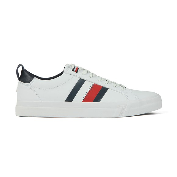 Tommy Hilfiger Mens White Flag Detail Leather Trainer main image