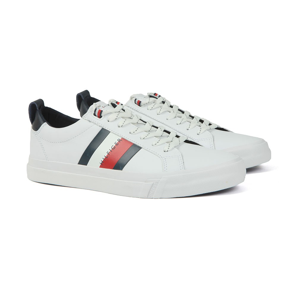 Flag Detail Leather Trainer main image