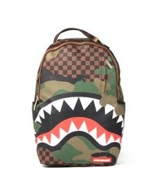 Sprayground Mens Brown Checkered Camo Shark Backpack