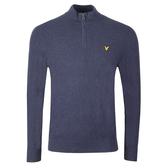 Lyle and Scott Mens Blue Moss Stitch 1/4 Zip Jumper
