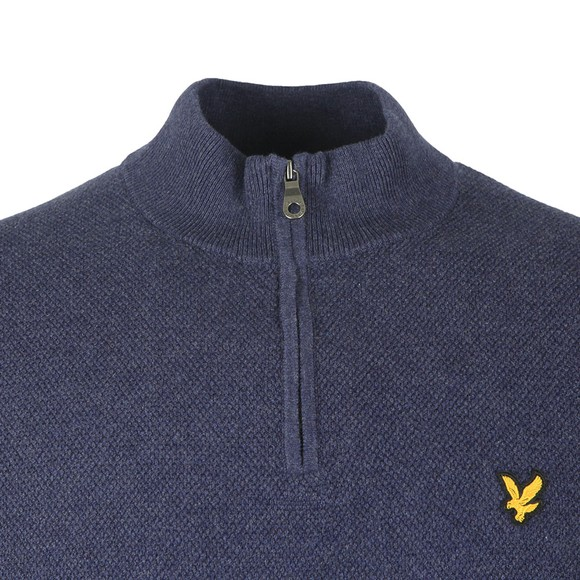 Lyle and Scott Mens Blue Moss Stitch 1/4 Zip Jumper main image