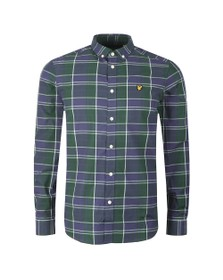 Lyle and Scott Mens Blue Poplin Check Shirt