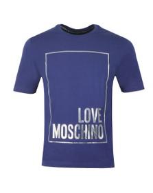 Love Moschino Mens Blue Metallic Box Logo T Shirt