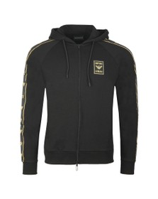 Emporio Armani Mens Black Gold Tape Logo Hoody