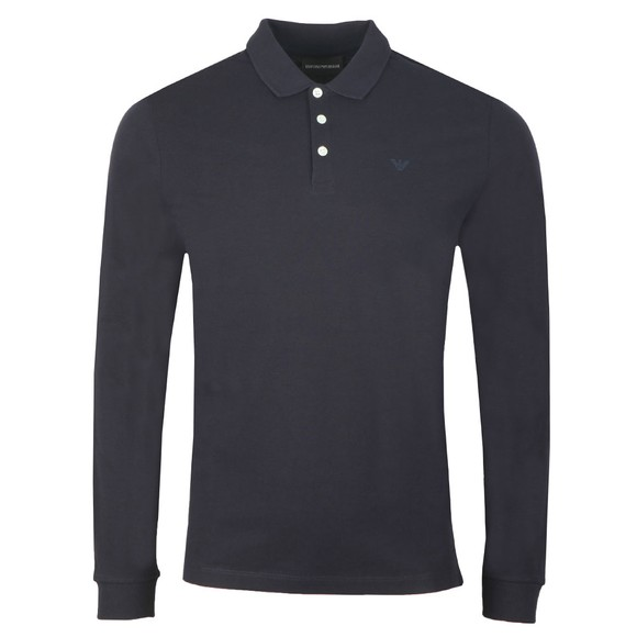 Emporio Armani Mens Black 8N1F13 Long Sleeve Polo Shirt main image