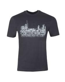 Emporio Armani Mens Blue Milano Embroidered Logo T Shirt