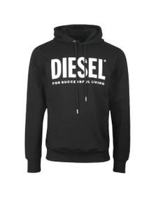 Diesel Mens Black Hood  Division Logo Hoody