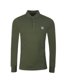 BOSS Mens Green Casual Passerby Long Sleeve Polo Shirt