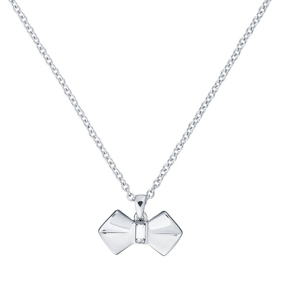 Ted Baker Womens Silver Sarahli Solitaire Bow Pendant