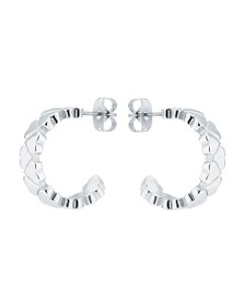 Ted Baker Womens Silver Harleen Heart to Heart Small Hoop Earring