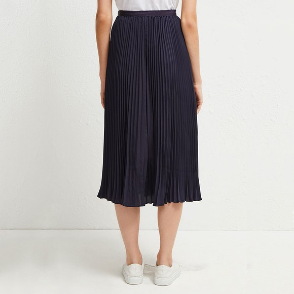 French Connection Womens Blue Crepe Light Pleated Midi Skirt main image
