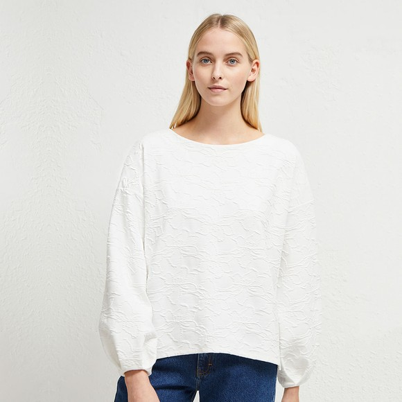 French Connection Womens White Sicily Texture Jersey Top main image