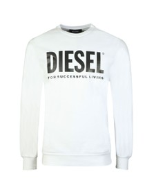 Diesel Mens White S-GIR Division Logo Sweatshirt