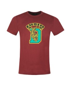Diesel Mens Red Diego Tiger T Shirt