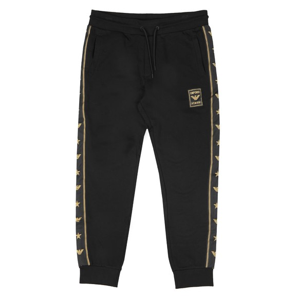 Emporio Armani Mens Black Gold Tape Logo Jogger main image