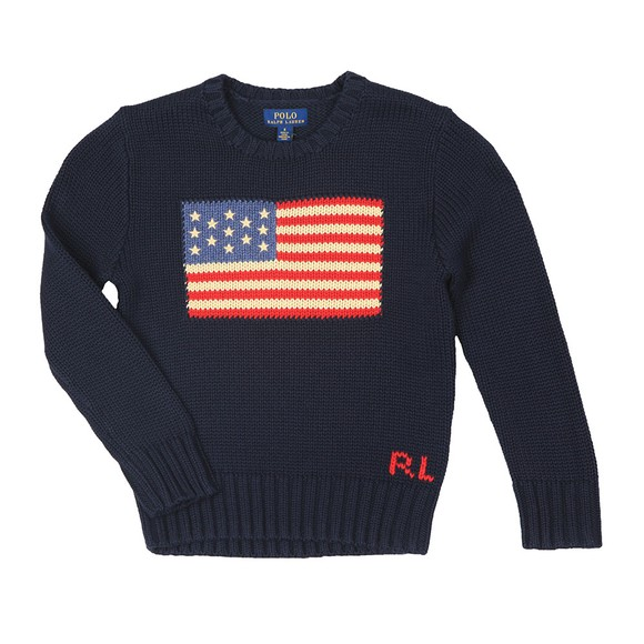 Polo Ralph Lauren Boys Blue Boys Flag Crew Knitted Jumper