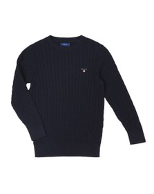 Gant Boys Blue Boys Cotton Cable Crew Jumper