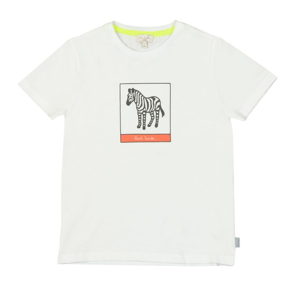 Paul Smith Junior Boys White Neon Zebra Line T Shirt