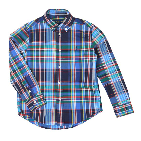 Polo Ralph Lauren Boys Blue Check Stretch Poplin Shirt