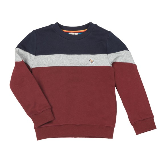 Paul Smith Junior Boys Red Triple Panel Zebra Sweat