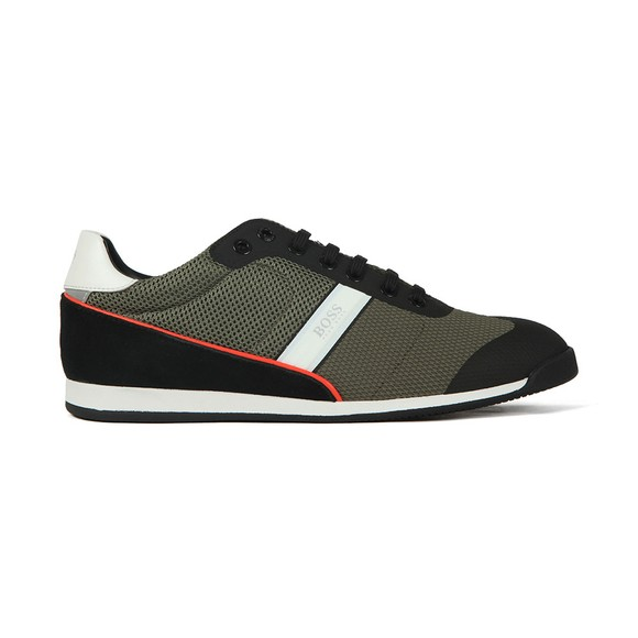 BOSS Mens Green Athleisure Glaze Low Mesh Trainer