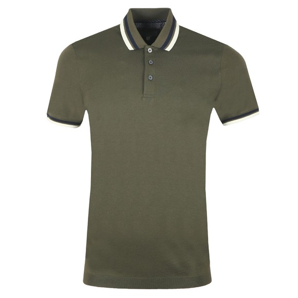 Ted Baker Mens Green Stripe Ribstart Polo