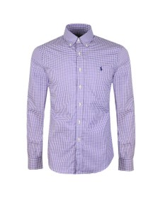 Polo Ralph Lauren Mens Purple Slim Fit Stretch Gingham Shirt
