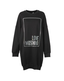 Love Moschino Womens Black Metallic Box Logo Sweatshirt Dress
