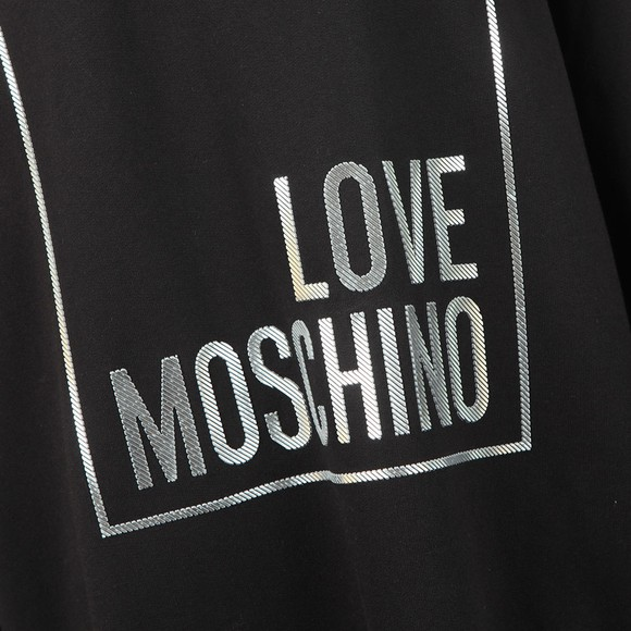 Love Moschino Womens Black Metallic Box Logo Sweatshirt Dress main image