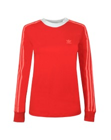 adidas Originals Womens Red 3 Stripes Long Sleeve T-Shirt