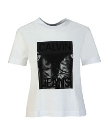 Calvin Klein Jeans Womens White Shiny Calvin T Shirt