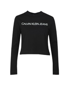 Calvin Klein Jeans Womens Black Institutional Logo Long Sleeve T Shirt