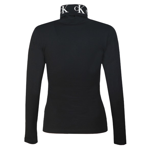 Calvin Klein Jeans Womens Black Monogram Tape Roll Neck Top main image