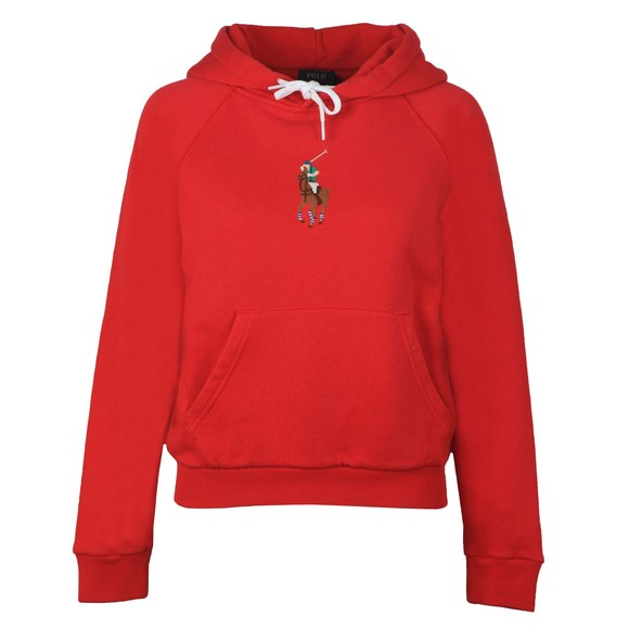 Polo Ralph Lauren Womens Red Embroidered Logo Overhead Hoody