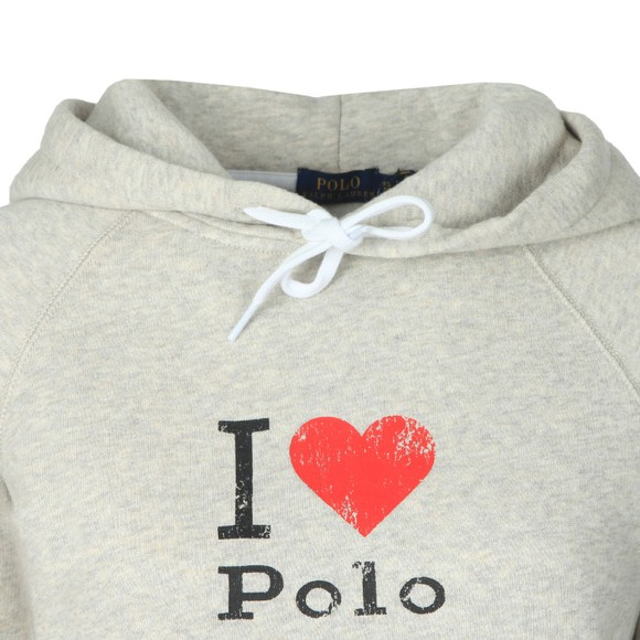 Polo Ralph Lauren Womens Grey Heart Logo Overhead Hoody