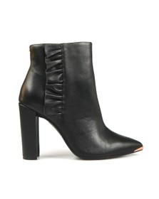 Ted Baker Womens Black Frillil Leather Ruffle Heeled Boot