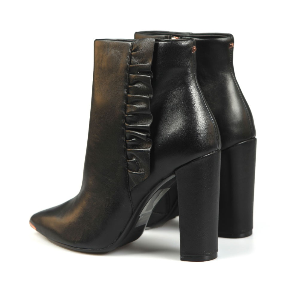 Frillil Leather Ruffle Heeled Boot main image
