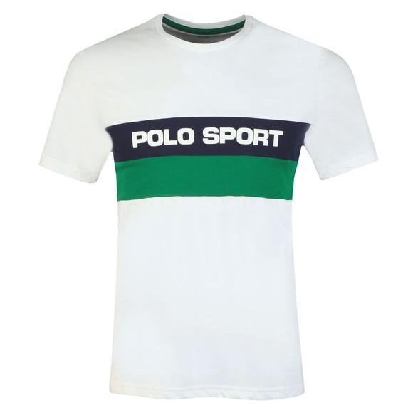 Polo Sport Ralph Lauren Mens White Stripe Logo T Shirt