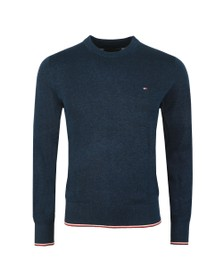 Tommy Hilfiger Mens Blue Tipped Mouline Jumper
