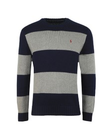 Polo Ralph Lauren Mens Blue Block Stripe Crew Neck Jumper