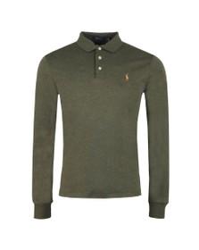 Polo Ralph Lauren Mens Green Long Sleeve Slim Fit Pima Cotton Polo Shirt