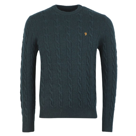 Farah Mens Green Cobby Cable Jumper