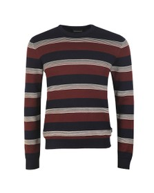 Emporio Armani Mens Blue Stripe Jumper