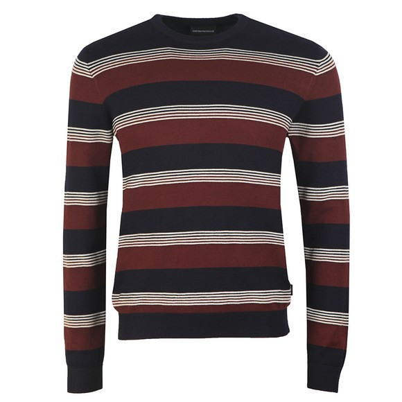 Emporio Armani Mens Blue Stripe Jumper main image